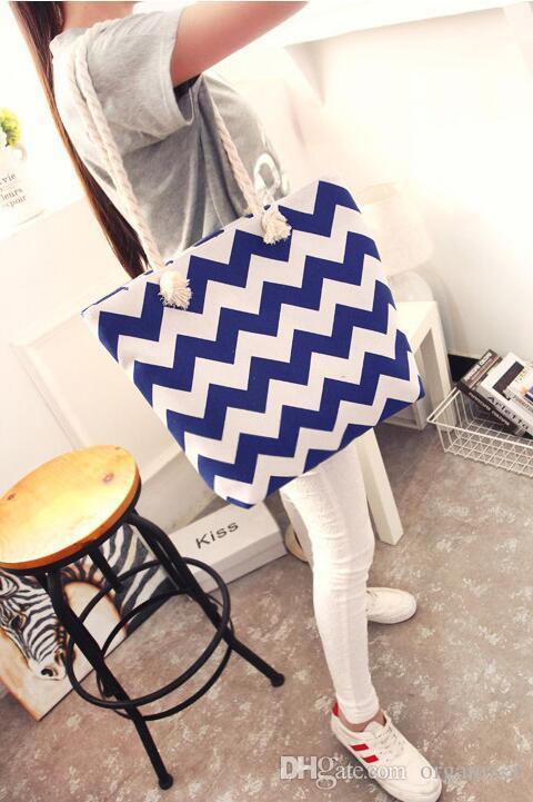 Özel logo Kız Rahat Yaz Tuval Shopper Omuz Çantası Çizgili Plaj Çantaları Büyük Kapasiteli Tote Kadınlar Bayanlar Casual Alışveriş Çanta Bolsa