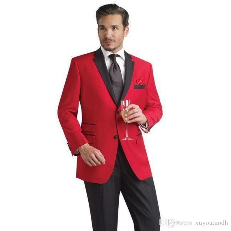 Compre Trajes De Hombre 2018 Rojo Negro Trajes De Boda De Solapa Muesca  Vestido De Noche Novio Personalizado Esmoquin De Novio Blazer Slim Fit  Mejor Hombre ... 89eb90a6de6