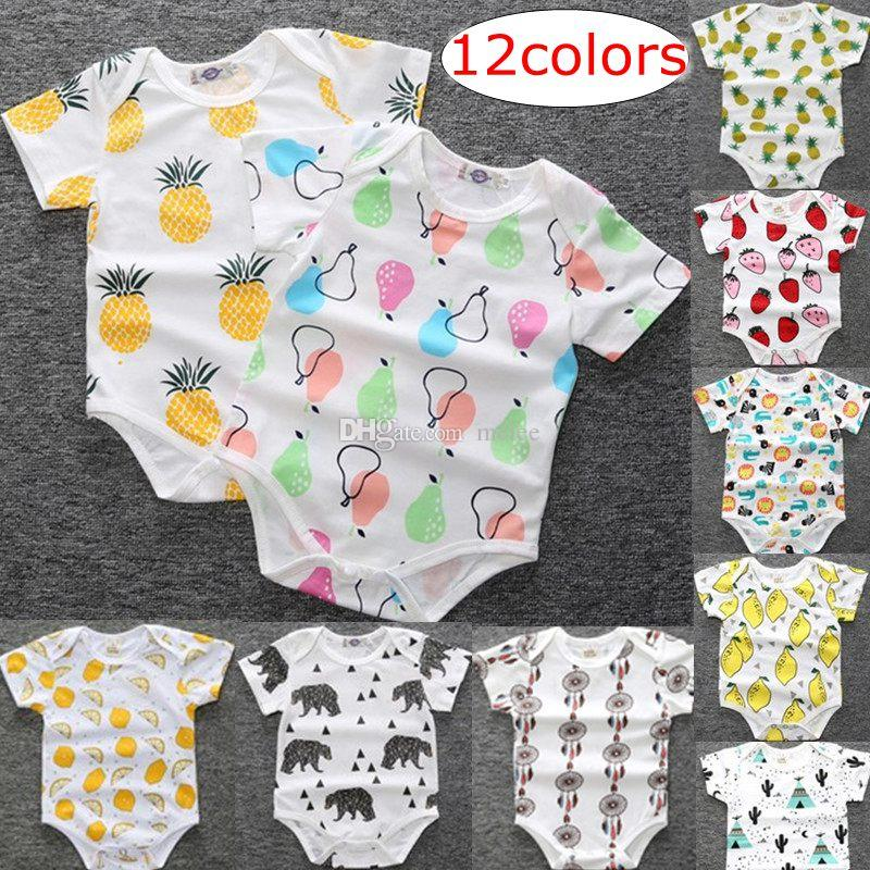 048e6de2a 2019 INS Summer Infant 100% Cotton Lemon Pear Print Wear Baby Romper  Onesies Cartoon Fruit Style Cotton Rompers 12style From Melee, $3.58 |  DHgate.Com