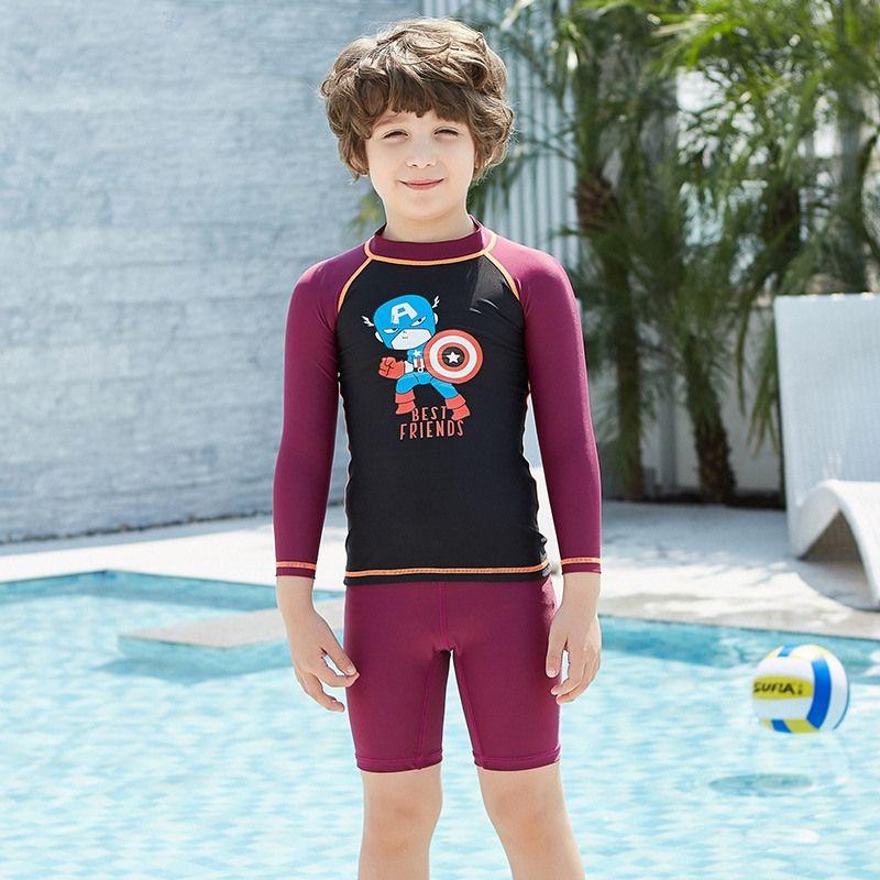 27ab1440a 2019 Kids Long Sleeve Rashguard Swimwear Top And Shorts Set Surfing  Snorkeling Floatsuit Diving Suit Long Sleeve Shirt Dive Skin Tops Set From  ...