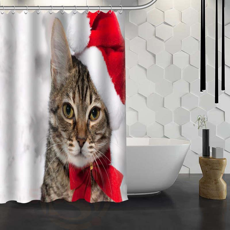 2018 Hot Sale Custom Christmas Animal Dog Cat Shower Curtain Waterproof Fabric Bath For Bathroom FY1 17 From Aliceer 4221