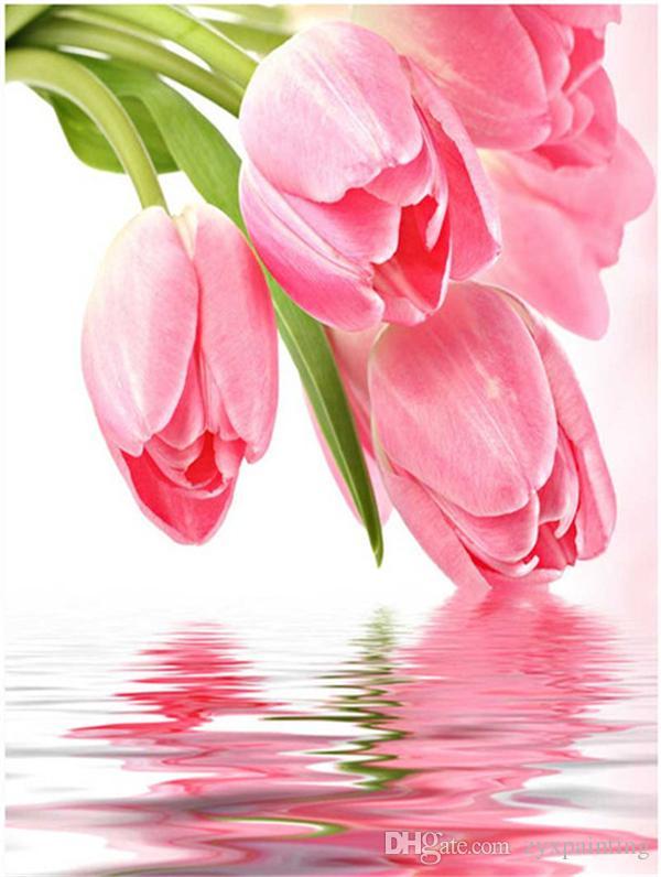 Diy pintura diamante kit ponto cruz strass mosaico de decoração para casa flor rosa tulipa lago rodada completa diamante bordado ro0066