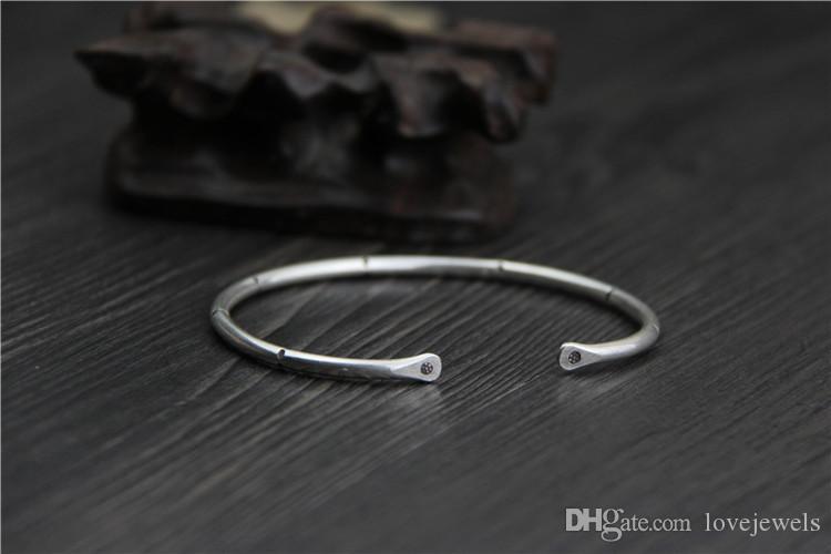 handmade dell'annata Thailandia 999 argento sterling multa anello braccialetto d'argento signore retrò aperto bracciale moda gioielli moda gioielli cina