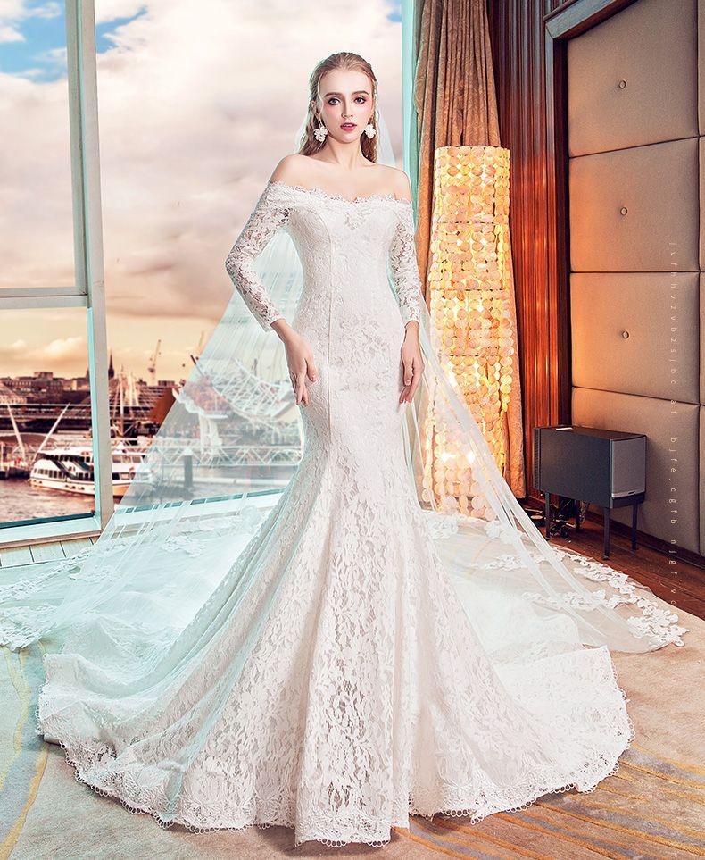 2018 New Wedding Dresses Word Shoulder Long-Sleeved Was