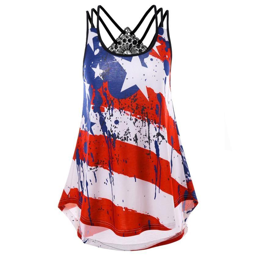 5ca0c6701c9 2019 Summer Top Women Plus Size Lace Flag Print Striped Blouse Sleeveless  Cami Tops Shirt Blusa De Renda From Karel, $35.38 | DHgate.Com