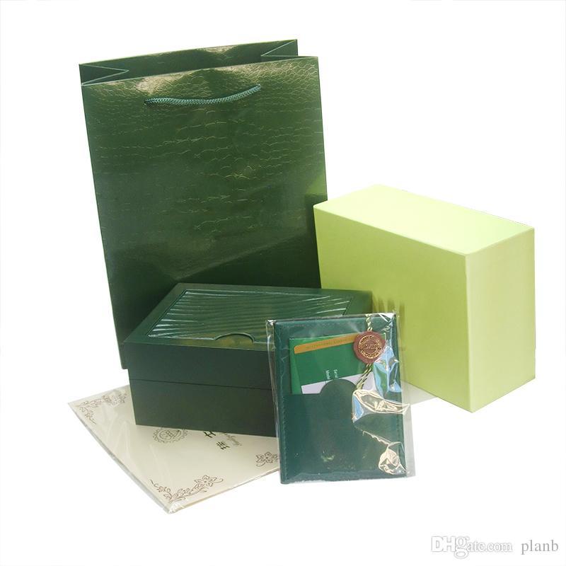 Kostenloser Versand Top Luxusuhr Grün Original Box Papiere Geschenk Uhren Boxen Ledertasche Karte 0,8 KG Für Rolex Uhrenbox