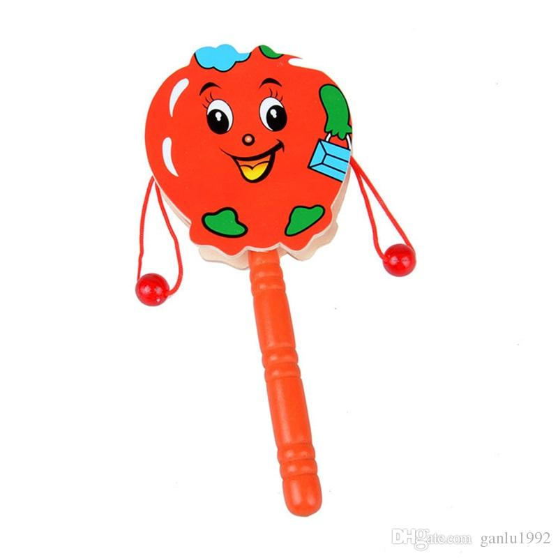 Drum Shaped Rattle Early Education Child Wooden Cartoon Tradition Toys Woodiness Wave Drums Bell Baby Kid Music 2 07hh V