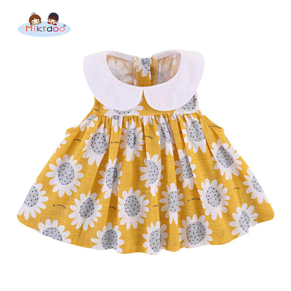 Newborn Baby Girls Summer Clothes Sunflower Print Sleeveless Peter Pan  Collar Dress Infant Cute Dresses Holiday Clothing UK 2019 From Cover3085 385034083