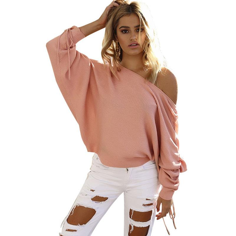 2019 HiloRill Winter Sweater Women Sexy Off Shoulder Batwing Long Sleeve  Knitted Pullover Sweater Casual Knitting Jumpers Pull Femme From Qinfeng01 36e070ee9