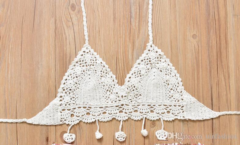 Sexy Handmade Crochet Bikinis Sets White Black Ladies Top Bordered Halter Fashion Swimwear Bottom Floral Print Style Women Beach Wear