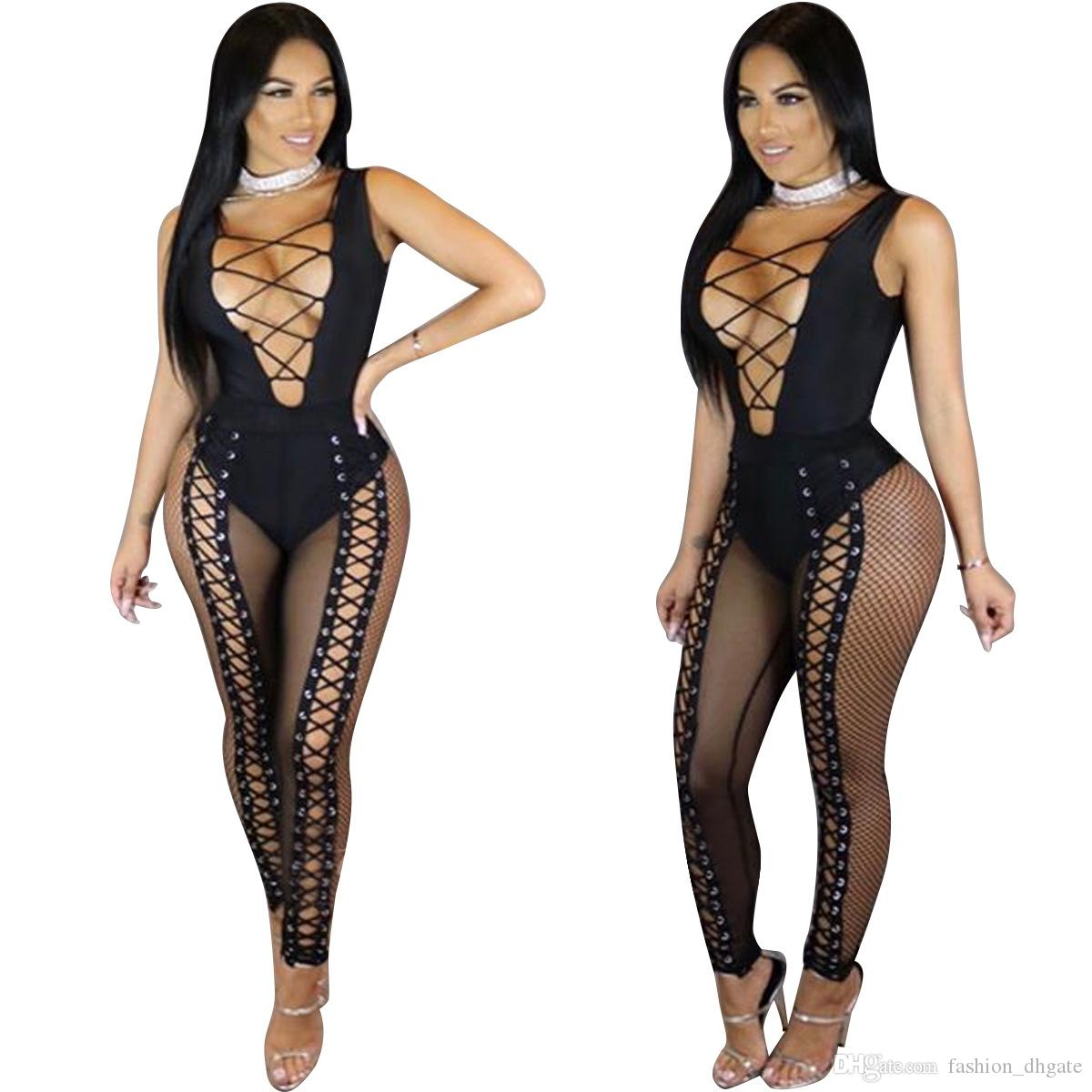 Charming Sexy Women Deep V Neck Corn Lace Up Bandage Sleeveless Mesh Transparent See Through Bodysuit Jumpsuits Rompers