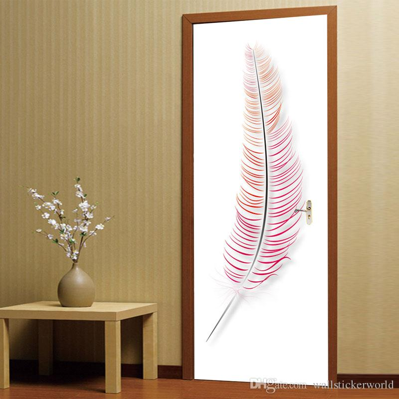 Large Size 3D Colored Feathers Wall Sticker Mural Quotes Bedroom Self-adhesive Door Stickers Home Decor