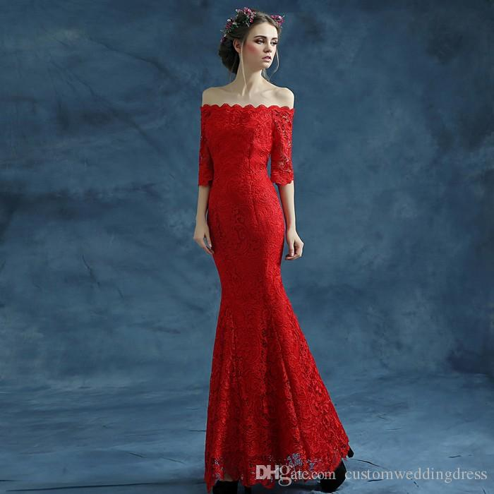 three quarter sleeve red long mermaid lace Evening Dress 2018 new hot sexy boat neck robe de soire vestidos de festa longo