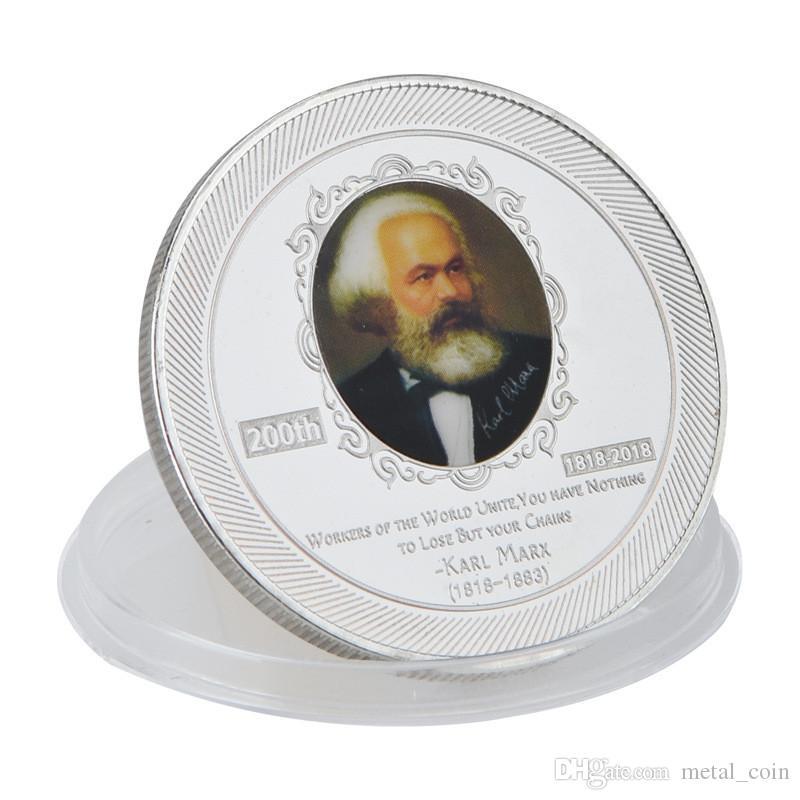 Großhandel 5 Muster Karl Marx 200 Geburtstag Jahrestag Versilbert