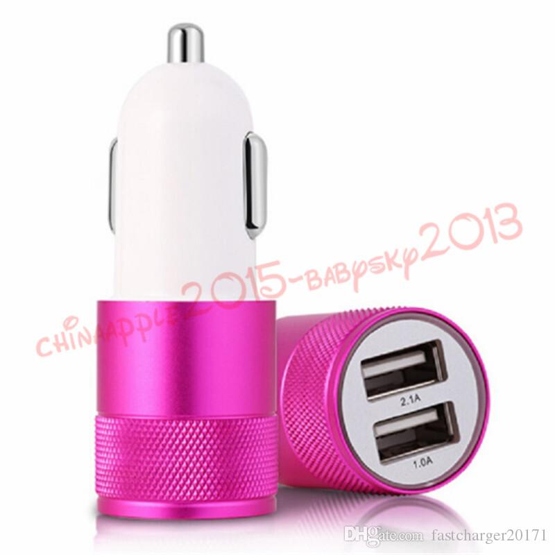 car charger 1A 2.1A 5V 2 USB Port Metal Car Charger Vehicle Chargers For iphone Samsung Smartphones mp3 gps