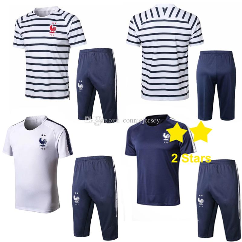 eca2d3a20 2019 Summer Tracksuit Soccer T Shirt Pant Suit Maillots De Football Jersey  Mens Designer Survetement Training Suit Chandal Futbol 2 Stars Striped From  ...