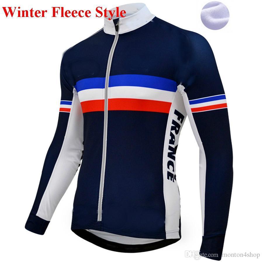 premium selection 4c536 ec896 2019 Frankreich Pro Team Winter Fleece Radfahren Winddichte Windjacke  Thermo MTB-Bikemantel Herren-Aufwärmjacke