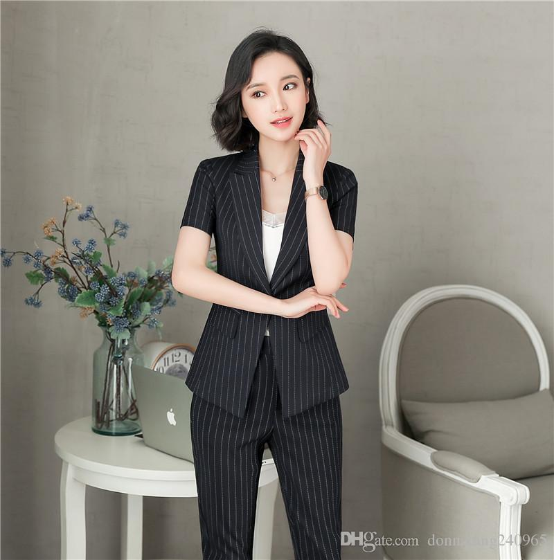 960ac9a277afe 2019 2018 New Fashion Women Business Pant Suits Formal Office Work Plus  Size Slim Short Sleeve Blazer And Pants Trousers Stripe Set From Dujotree
