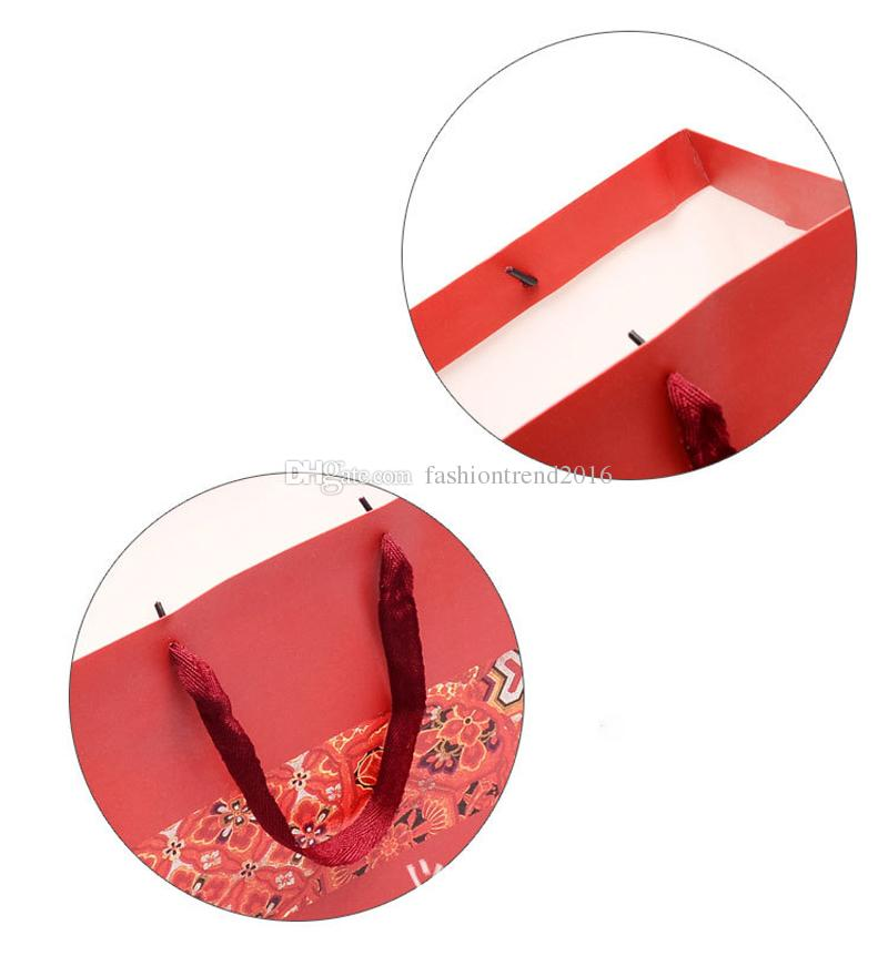 Paper Gift Bag with Handles Chinese Traditional Red Wedding Party Favor Bag Package Candy Bags DIY Shopping Bags