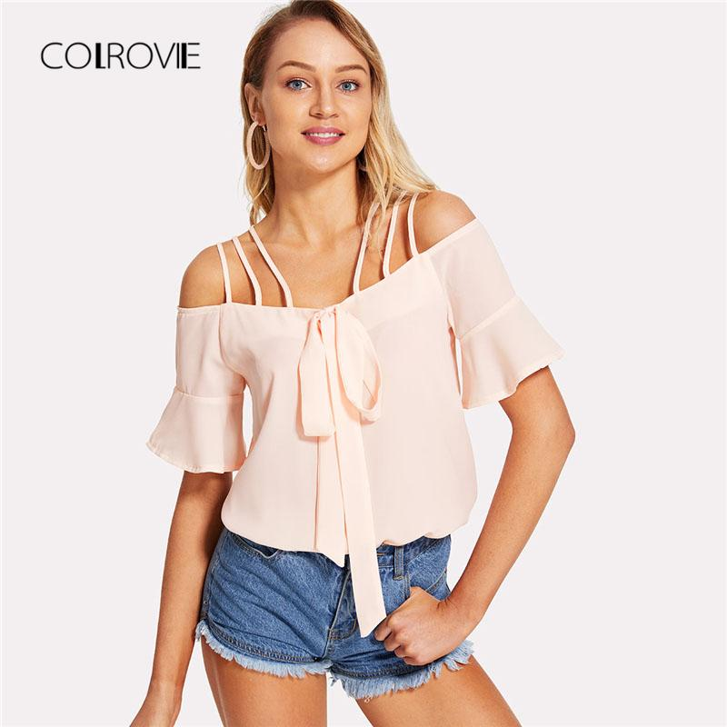 Strappy Grommet Knot Front Halter Top 2018 New Spaghetti Strap Short Sleeve  Vacation Woman Top Summer Crop Blouse