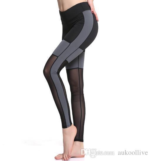 Großhandel Neue Ankunft Frauen Yoga Hosen Schwarz Grau Farbe Mesh Patchwork Gym  Fitness Sport Legging Schlank Jeggings Running Tight Für Weibliche Von ... 30a92b56dd