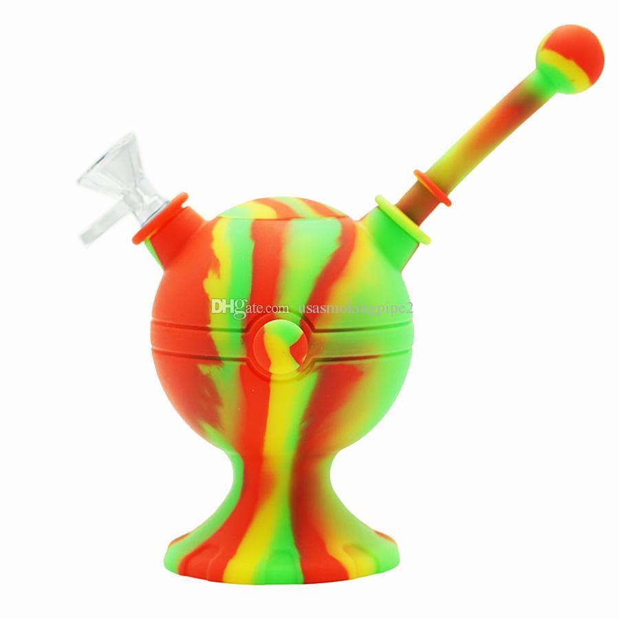 Unique design! FDA silicone water pipe bubbler portable tobacco smoking oil unbreakable wax rig glass water smoke pipe