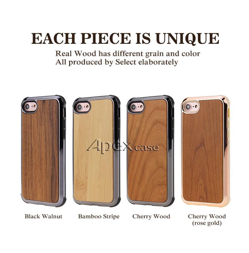Caja de teléfono de madera real de calidad Prermium para iPhone X, iPhone 8, 7 Samsung S9 Plus Naturaleza Madera tallada Madera Bambú Diseño delgado