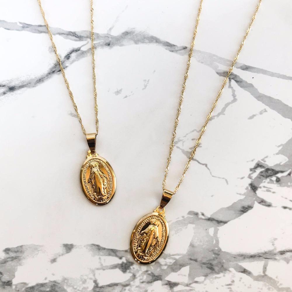 Großhandel Neue Ankunft Gold Farbe Kette Oval Münze Anhänger