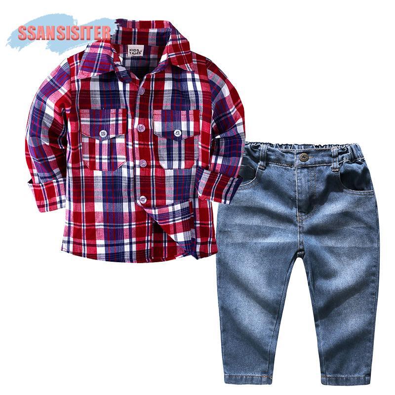 65e998d7189d 2019 /Sets Baby Boys Clothes Set Long Sleeve Plaid Gentleman Suit ...