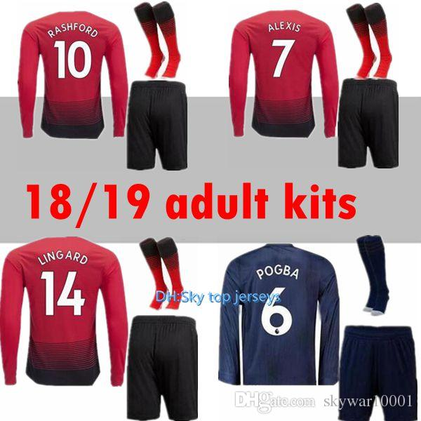 ff60a595c Long Sleeve Kit 18 19 LUKAKU POGBA ALEXIS Manchester United Soccer ...