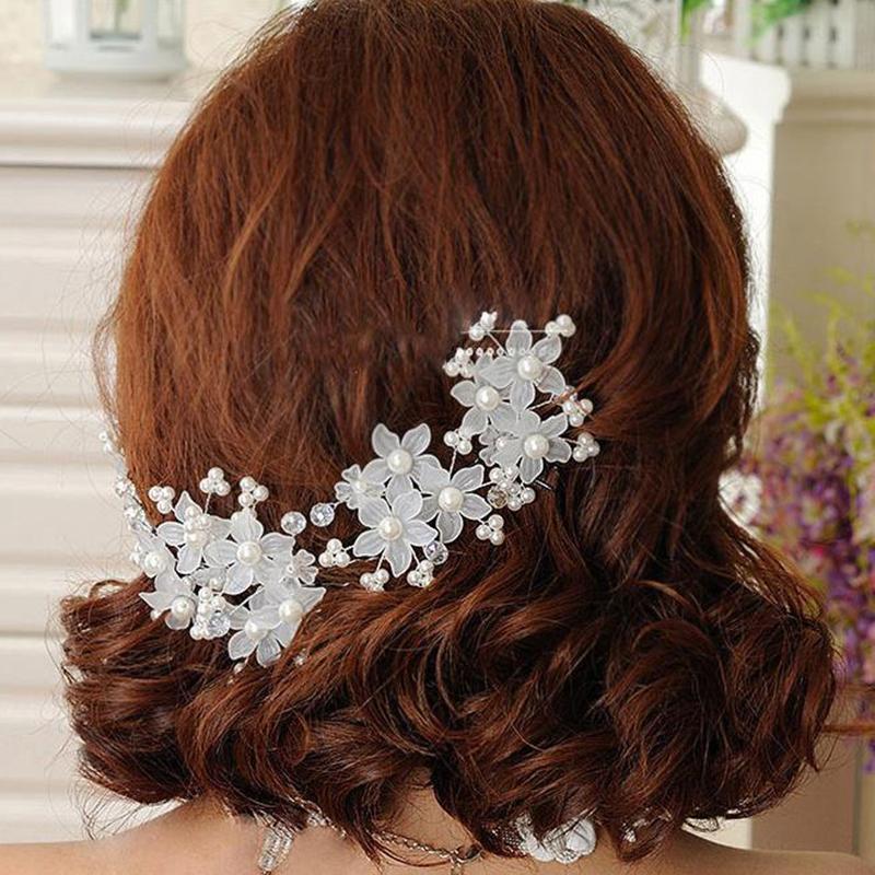 XIAOJINGLING Trendy Braut Klar Red Crystal Pearl Floral Haar Kämme Haarnadel Hochzeit Haarschmuck Handmade Veil Haarschmuck