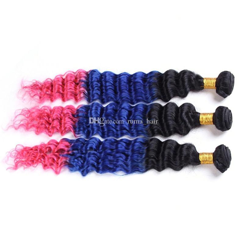 Tre toni 1b blu rosa capelli umani onda profonda capelli ombre pacchi 3 pz / lotto profondo riccio scuro radice peruviana vergine estensione dei capelli