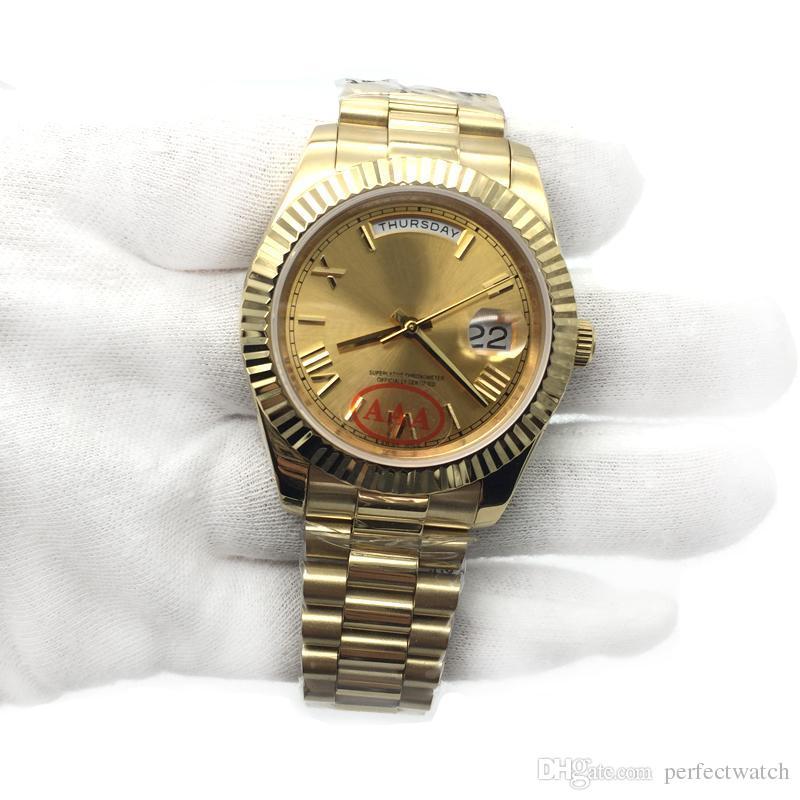 93a0a223e16 Compre Marca De Luxo 18 K Presidente Ouro Dia Date Sapphire Cystal Genebra  Homens Relógios Movimento Mecânico Automático Masculino Relógio De Pulso  Relo ...