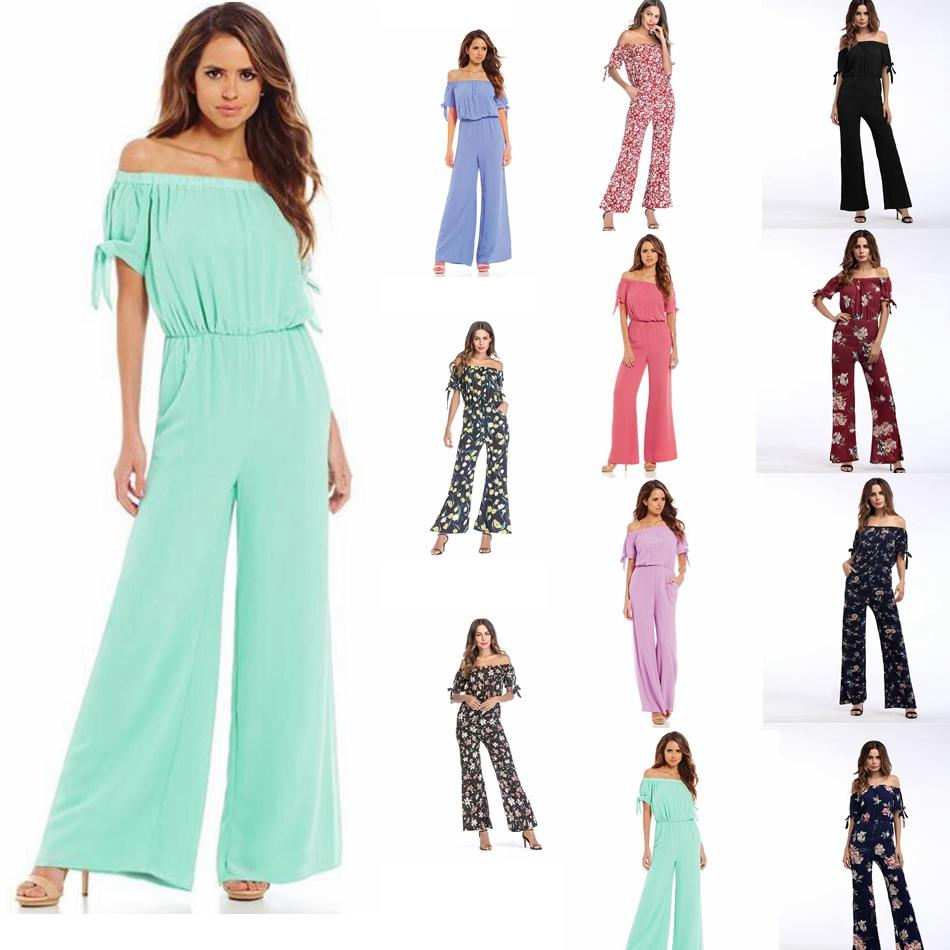 ff2f52f51741 Women Dress Simple Sexy Holiday Style Floral Strapless Straps Jumpsuit  Chiffon Short Sleeved Dress Pants Casual Dresses GGA941 Plus Size Dress  Modest ...