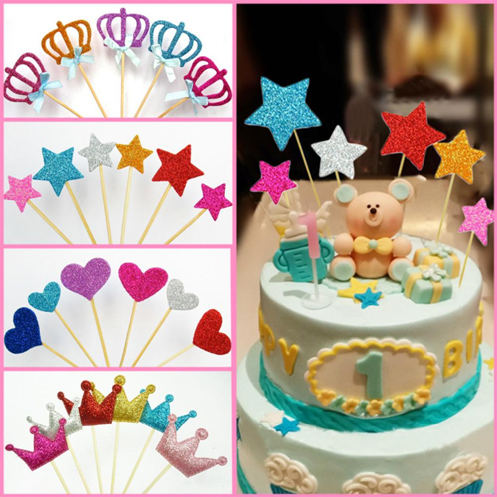 2018 Multicolor Crown Heart Star Theme Flag Cupcake Cake Toppers