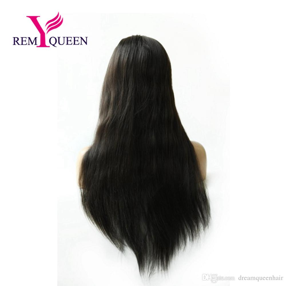 Remy Queen Human Hair 1B# Off Natural Black Straight Full Lace Wig Plucked With Baby Hair Double Knots