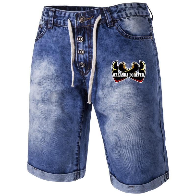 8a9fc3549db 2019 DRopshipping Wakanda Forever Black Panther Men Jeans Designer Fitness  Casual Custom OEM DIY Jeans Me Summer Short Pants Trousers From Manxinxin