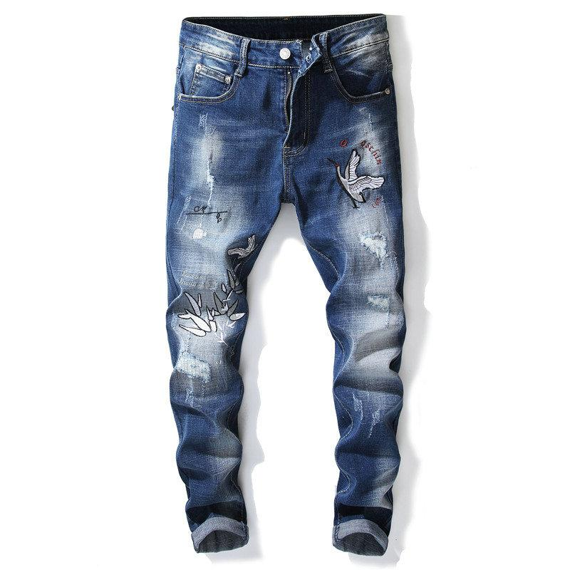 8217b102a7d 2019 Fashion Trend Men S Jeans Embroider Stretch Tight Denime Pants Casual  Little Foot Jean Teenagers Jeans 2018 Hot Sales From Top youshanping