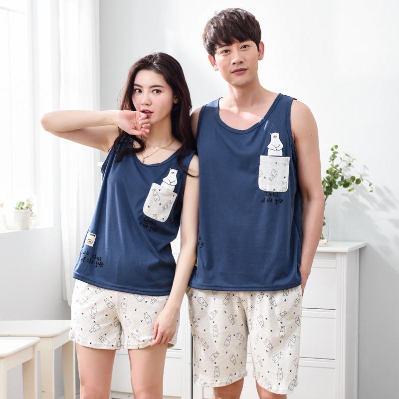 2017 Casual Couple Pajama Sets Women Cotton Cartoon Pajamas Men Sleeveless Vest Pijama Girls Cute Shorts Sleepwear Pyjama Summer