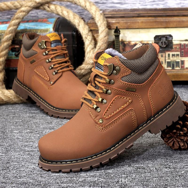 Brand New High Quality Brand Cowhide Martin Boots Men Waterproof Non-slip Outdoor Hot Leather Boots Winter Warm Snow Boots