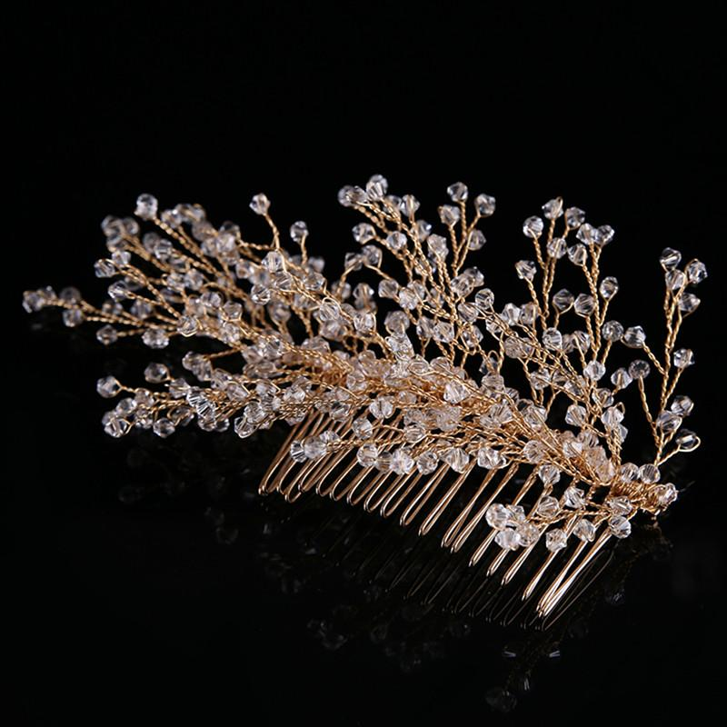 Bridal Hair Combs Gold Plated Copper Wire Crystal Rhinestone Tree Shape Headpiece Wedding Hair Combs Clips for Women Hair Accessory Jewelry