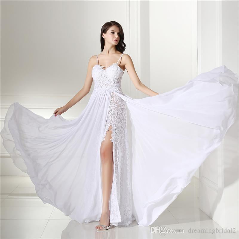 0bed5077b10 Discount Cheap White Beach Wedding Dresses Spaghetti Straps Lace Chiffon A  Line Sleeveless Sweetheart Split Side Bridal Dresses Wedding Gown12 LG0302  Best ...