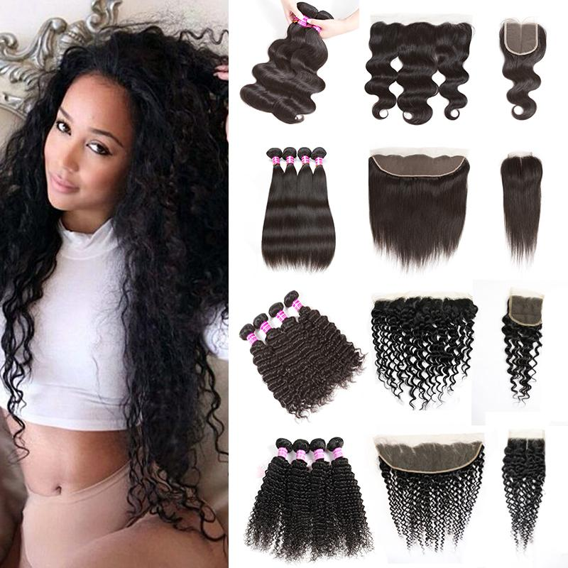 Peruvian Hair Lace Frontal with Bundles Body Wave Straight Kinky Curly Human Hair Weave Water Wave Hair 4 Deep Curly Bundles with Closure