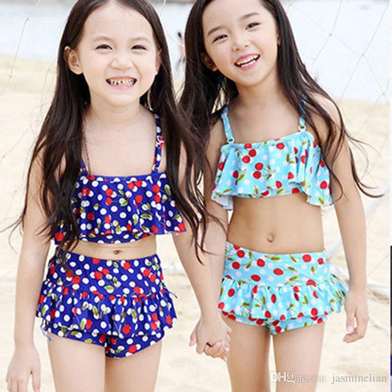 e51b42c019787 2019 Baby Swimwear Kid Yellow Mimi Bikini Swimsuit Pattern Floral Bathing  Suit Short Sleeve Girls Sexy Nylon Plus Size From Jasminelian