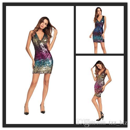 1148159d86 Acheter Robes Femme Forfait Sexy Jupe Jupe One Step Jupe Paillette Jupes  Courtes Col V NightClub Full Dress Parties De $18.1 Du Tzz_biz | DHgate.Com