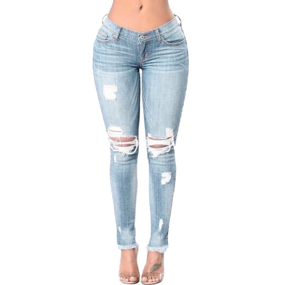 1d079bdd9f Compre Tallas Grandes Para Mujer Pantalones Vaqueros Desgarrados Bodycon Denim  Destroyed Frayed Hole Beggar Jeans Pantalones Pitillo Ocasionales Push Up  ...