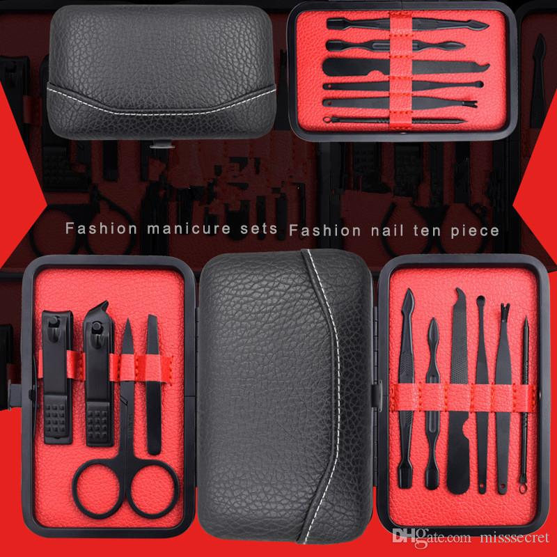 10 adet Paslanmaz Çelik Tırnak Manikür Araçları Set Taşınabilir Tırnak Sanat Kitleri Çivi Clipper Kaş Makas Cımbız Bıçak Kulak çekme Seyahat Kiti