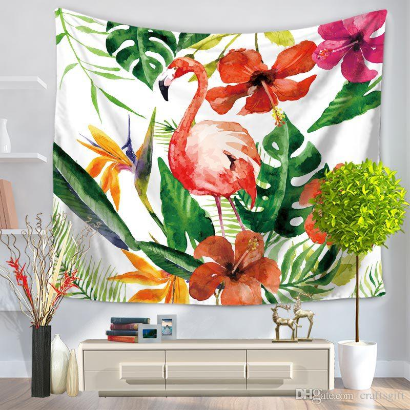 Flamingo Green Leaf Tapestry Digital Printing Wall Hanging Polyester Throw Picnic Pads Door Curtain Home Decor Bedspread Beach Blanket