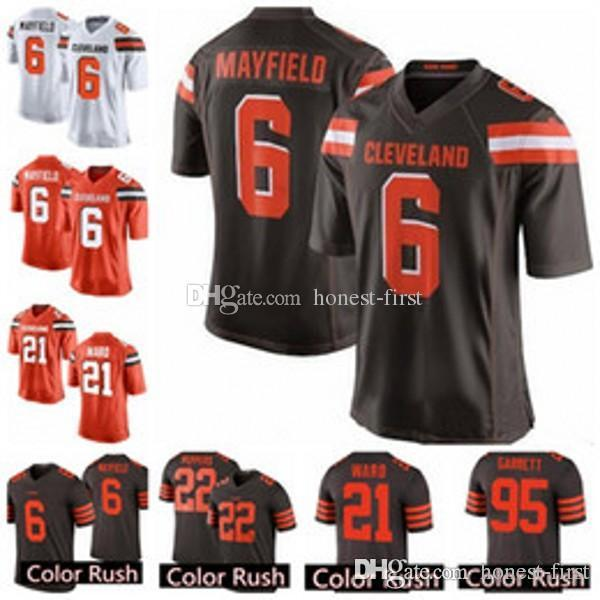 reputable site d39ba 13acf Cleveland Browns 6 Baker Mayfield 21 Denzel Ward 80 Jarvis Landry 22  Jabrill Peppers 31Chubb 95 Garrett Color Rush Game 100% Stitched Jersey