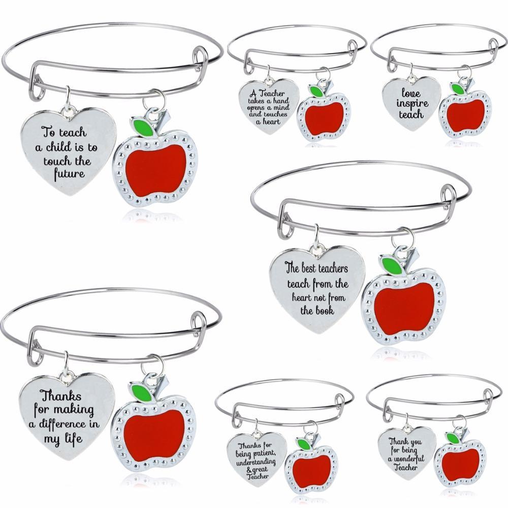 Großhandel Liebe Herz Red Apple Charms Danke Lehrer Armreifen ...